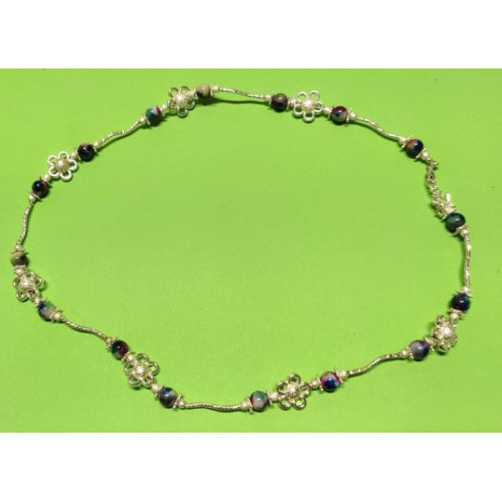 Necklace about 59cm + 5cm silver-plated extension chain, made of silicone wire, silver-plated metal chain, green-purple jade beads