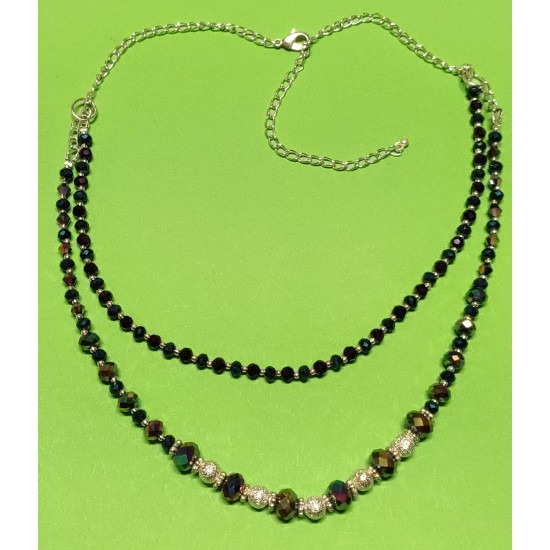 Necklace about 45 cm + 5 cm extension chain, with two strings, faceted glass beads, abacus, rainbow