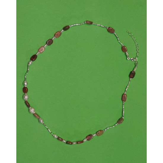 Necklace 57cm + 5cm silver-plated extension chain, made of silicone wire, silver-plated metal chain, uneven unakit stones,
