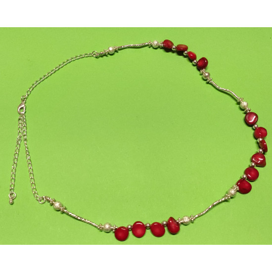 Necklace 53cm + 5cm silver-plated extension chain, made of silicone wire, silver-plated metal chain, non-uniform coral stones