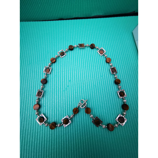 Semi-precious necklace made of tiger\'s eye beads, length 56 cm. Made of silicone wire, semiprecious tiger beads