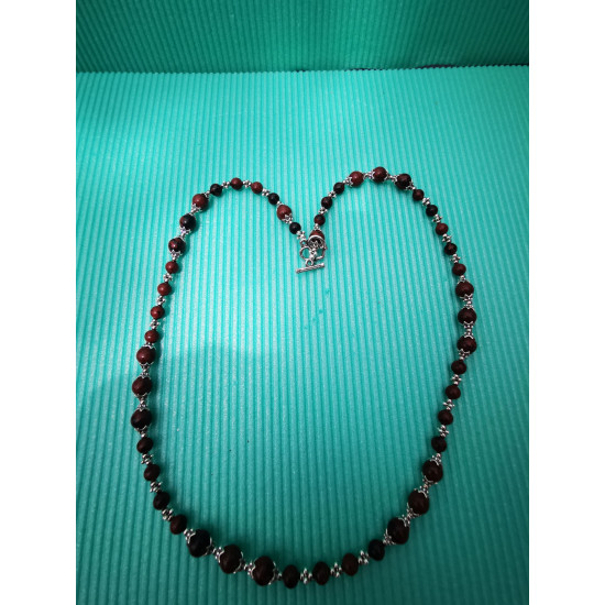 Obsidian bead necklace length 64 cm.