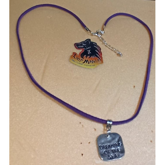 Imitation leather cord necklace with various pendants, Tibetan silver cord end, lobster and 5 cm stainless steel extension. Length about 58-65 cm.