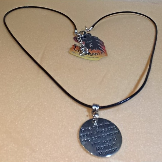 Waxed cord necklace with various pendants Tibetan silver cord end, looster and 5 cm stainless steel extension. Length between 58-65 cm.