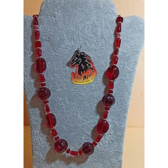Czech glass necklaces. Made of silicone wire from Czech glass beads of different shapes with silver accessories, lobster clasps and 5 cm extension. COL096-1 = 63.5 cm + 5 cm extension