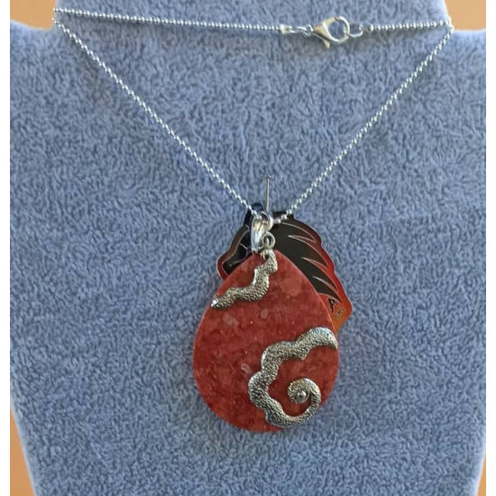 Silver plated chain with coral pendant 40x62x7 mm.