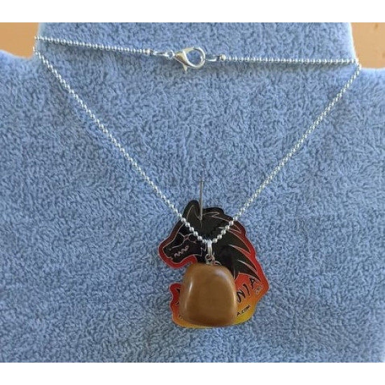 Silver plated necklace with JASPICE natural stone pendant 20x19x16 mm.