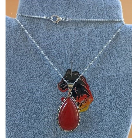 Silver-plated necklace with Aventurine natural stone pendant red 26x51x7 mm.