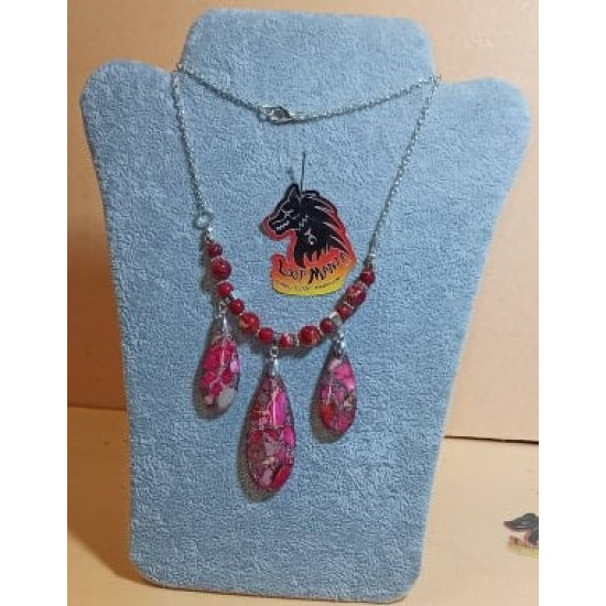 Chain with silver plated necklace base 46cm, royal fuchsia pendants with silver, 50x21x6.5mm and 35x15x6.5mm and purple royal silver pendants, 50x21x6.5mm and 35x15x6.5mm, silver plated pendant hangers.LAN0007-1-fuchsia, LAN -2-mov