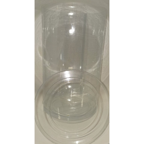 Transparent plastic cylinders .