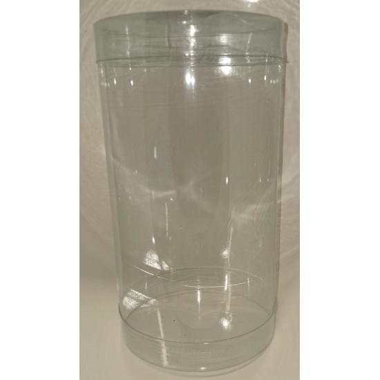 Transparent plastic cylinders with lid diam 10 cm, height 18 cm.