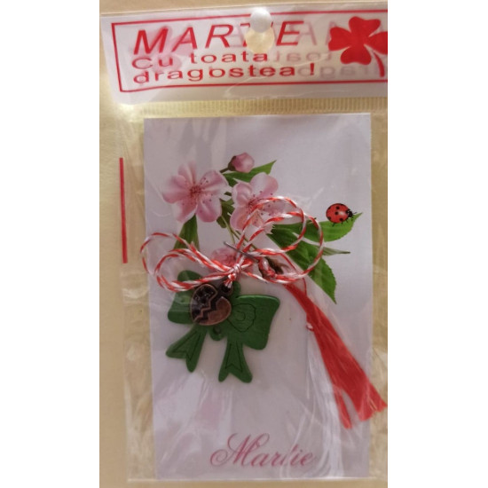 March ornaments Wooden bow different colors and metal alloy charm.