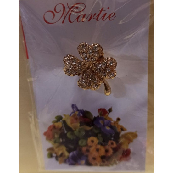 March ornaments. Golden brooch with rhinestones with 4 leaves 22x20cm.