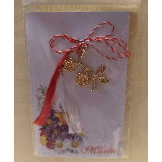 March ornaments. Gold plated flower pendant.