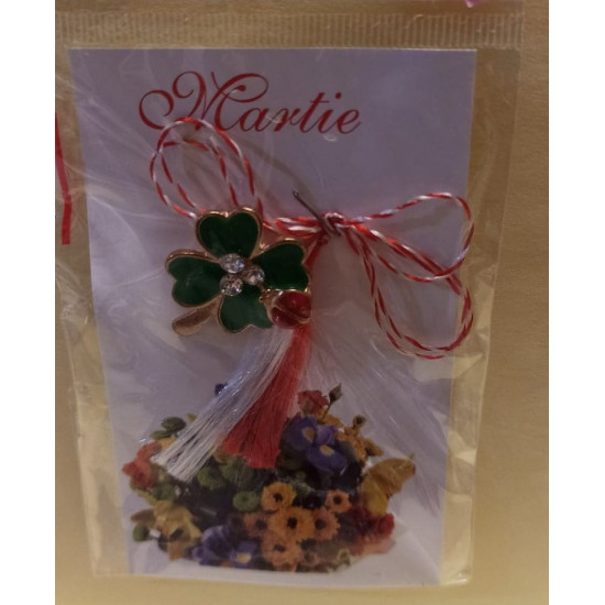 March ornaments. 4-leaf clover brooch with transparent rhinestones and gargle.