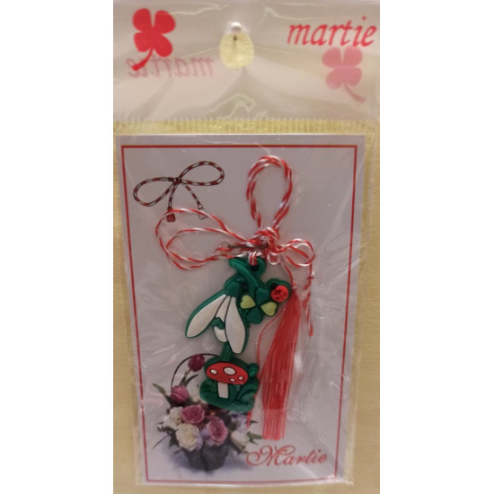 March ornaments. Minnie rubber pendant 35x22mm, snowdrop rubber pendant with mushrooms 40x25mm.