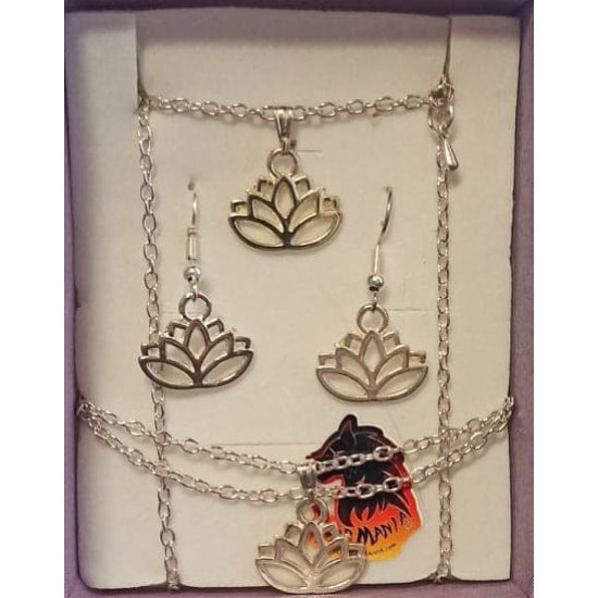 Chain with lotus pendant, lotus bracelet and silver plated lotus earrings.