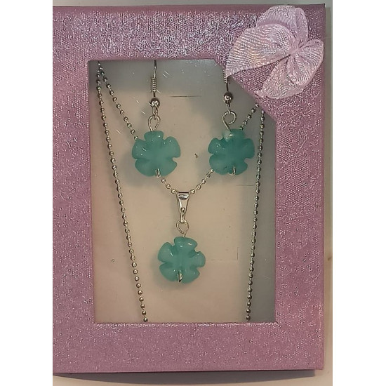 Silver plated necklace and accessories with aquamarine, aventurine, jade and earrings semiprecious stone pendant.