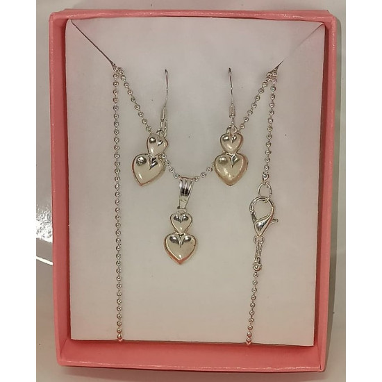 45cm chain and earrings with silver plated drop - 2 hearts.