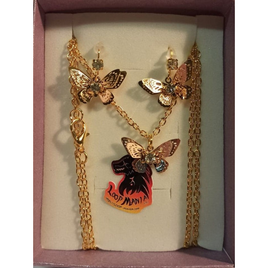 Jewelry set. Chain with earrings made of metal pendant, gold plated, butterfly, 13.5x20x4mm, gold plated necklace base 77cm long, za 3x2mm, gold plated earrings with transparent white crystal 18x12mm.