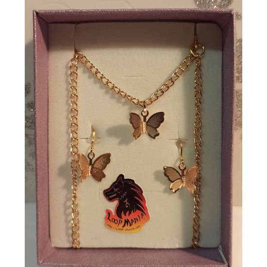 Jewelry set. Chain with gold-plated pendant earrings, butterfly 10.5x12x3mm, gold-plated necklace base 46cm long, za 4x2,5mm, simple gold-plated links 5mm, gold-plated earrings with transparent white crystal 18x12mm.