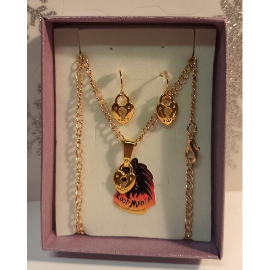 Jewelry set. Chain with small 13x9mm gold plated charm earrings, thin gold plated 11x4mm wide hanger, 46cm long gold plated necklace base, 4x2,5mm za, 22x11mm gold plated simple cakes.