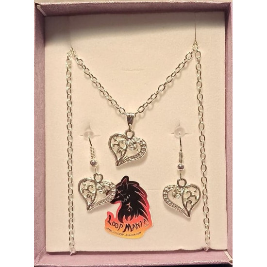 Jewelry set. Chain and earrings with decorated heart charm 14x14mm silver plated, silver plated necklace base 46cm long, za 3x2mm, cakes silver plated earrings 19 mm with bow and bal.