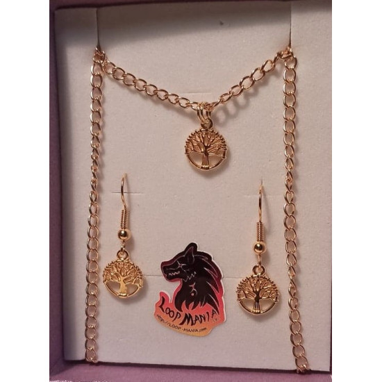 Jewelry set with gold-plated necklace base 46cm long, za 4x2.5mm with gold-plated tree of life and 22mm cake with spiral, ball and loop, gold-plated.