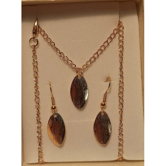 Chain with earrings with metal pendant, gold plated, leaf 19x9x2mm, necklace base gold plated 46cm long, za 4x2.5mm and simple cakes gold plated 22x11mm.