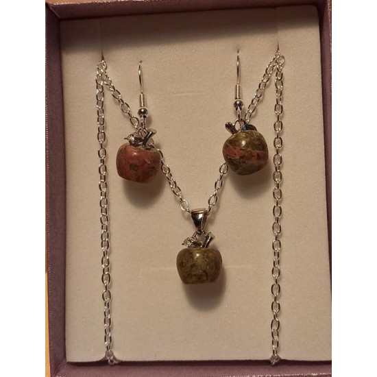 Silver plated chain and earrings with unakite pendant, apple 15x10mm, silver plated necklace base 51cm long, za 3x2mm and 2cm silver plated earrings.