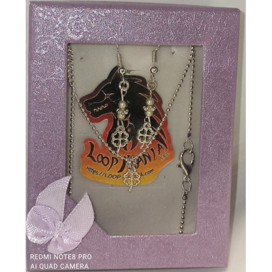 Earrings. 45cm chain and earrings with silver-plated pendant - wings-1, clover-2, angel-3, leaves-4.
