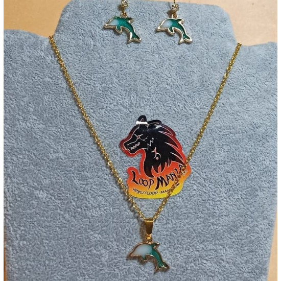 58 cm chain and earrings with gold-plated pendant, enameled dolphin.