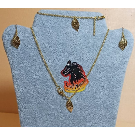 Chain with earrings and bracelet based on gold plated necklace 55cm long ,, metal pendant, gold plated, leaf 18x10x1mm, simple gold plated cakes, bracelet 19 cm with gold plated leaf.