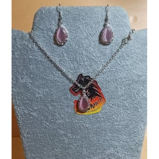 Chain with earrings. 55 cm necklace with teardrop cat eye pendant 22x13x6 cm and silver plated accessories. Handmade on silicone wire, silver-plated lobster clasp. 4 cm earrings, made of cat eye tear 22x13x6 cm with silver-plated cake.