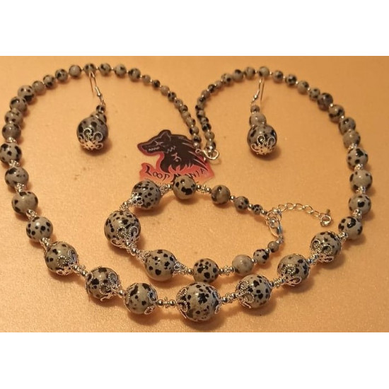 Set: necklace-earrings-bracelet: necklace about 65 cm, Dalmatian jasper. unshaped spherical Dalmatian jasper 14,12,10,8,6,4 mm, silver-plated daisy spacers 5 mm, silver-plated extension chain (necklace / bracelet extension) - 5 cm, lobster silver-plated b