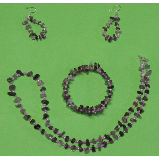 Set: necklace-earrings-bracelet. Necklace about 65 cm, amethyst chips, sand beads. handmade on silicone wire, Tibetan silver Toggle clasp.
