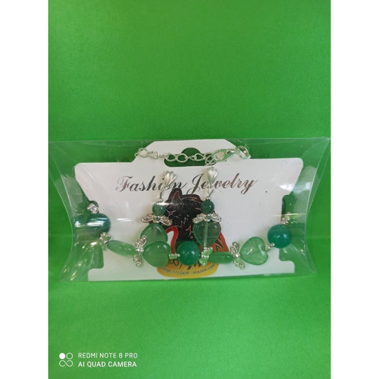 BRACELET EARRING SET. Semi-precious stones jewelry set. Made of silicone wire with silver plated accessories. Bracelet 18 cm + 5 cm extension, earrings 3-3.5 cm with cake earrings.  -1aventurin, -2 calsilica, -3 Malay jade, -4 Malay jade, -5 Malay jade, -