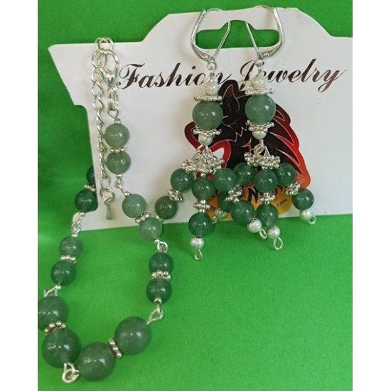 BRACELET EARRING SET Aventurine semiprecious gemstone set.
