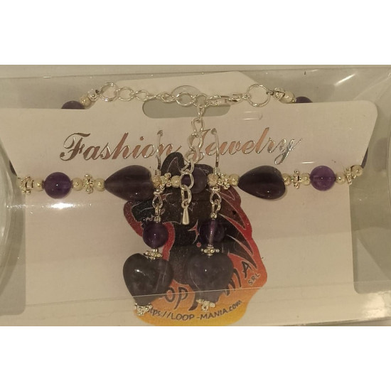 Jewelry set bracelet earrings. Bracelet about 18 cm + 5 cm extension chain, with amethyst, semiprecious and silver plated accessories.