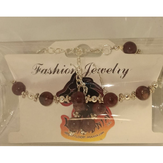 Jewelry set bracelet earrings. Bracelet about 18 cm + 5 cm extension chain, with jasper, semiprecious and silver plated accessories