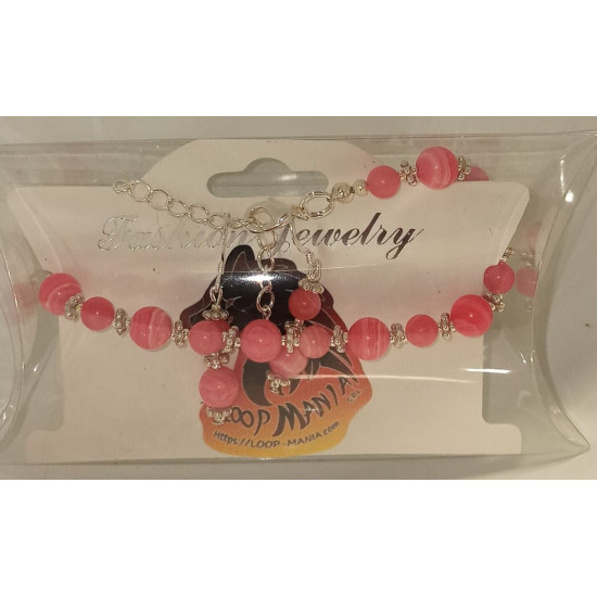 Jewelry set bracelet earrings. Bracelet about 18 cm + 5 cm extension chain, with imitation rhodonite, semiprecious and silver plated accessories.