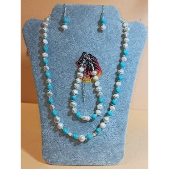 Set: necklace-earrings-bracelet made of white natural pearls and turquoise spheres. Necklace about 50 cm + 5 cm silver-plated extension, handmade on silicone wire made of natural pearls (culture), turquoise spheres, silver-plated spacers, silver lobster c