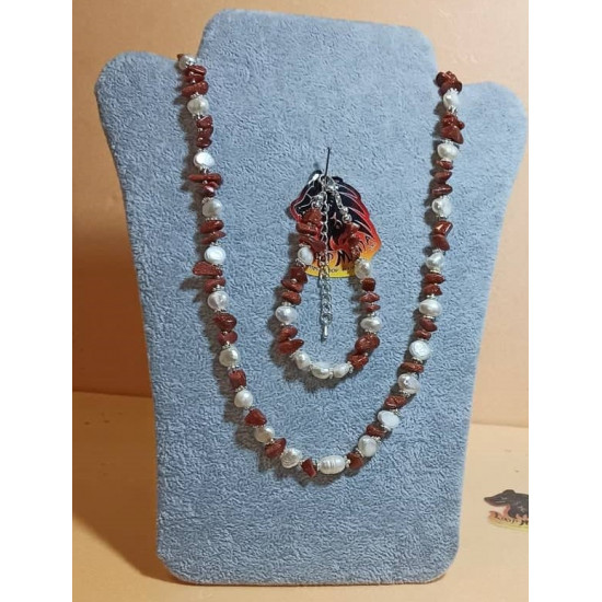Set: necklace-bracelet made of white natural pearls and semi-precious chips. Necklace about 53.3 cm + 5 cm silver-plated extension, handmade on silicone wire made of natural pearls (culture) and various semi-precious chips, silver-plated spacers, silver l